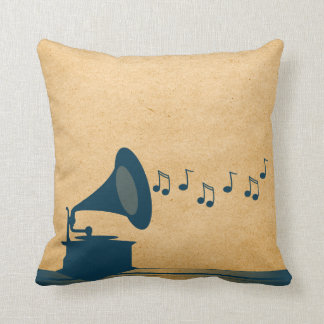 Blue Vintage Gramophone Pillow