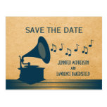 Blue Vintage Gramophone Save the Date Postcard