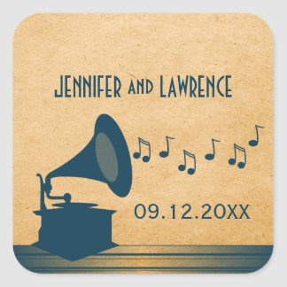 Blue Vintage Gramophone Wedding Stickers