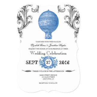 Blue Vintage Hot Air Balloon Wedding Invites