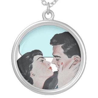 Blue Vintage Kiss Necklace