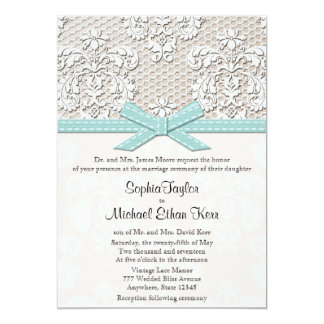 Blue Vintage Lace and Pearls Glamour Wedding Custom Invitations