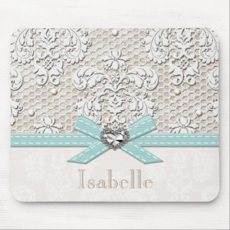 Blue Vintage Lace and Pearls Mouse Pad