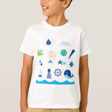 Beach Themed BLUE VINTAGE MARE ICONS : Tshirts