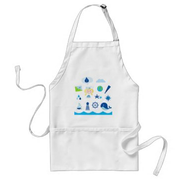 Beach Themed BLUE VINTAGE MARE ICONS : Tshirts Adult Apron