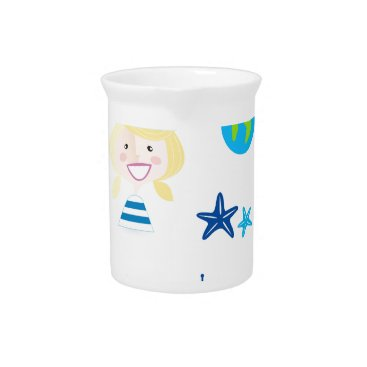 Beach Themed BLUE VINTAGE MARE ICONS : Tshirts Beverage Pitcher