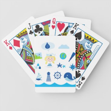 Beach Themed BLUE VINTAGE MARE ICONS : Tshirts Bicycle Playing Cards