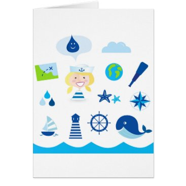 Beach Themed BLUE VINTAGE MARE ICONS : Tshirts Card