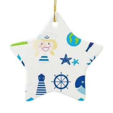 Beach Themed BLUE VINTAGE MARE ICONS : Tshirts Ceramic Ornament