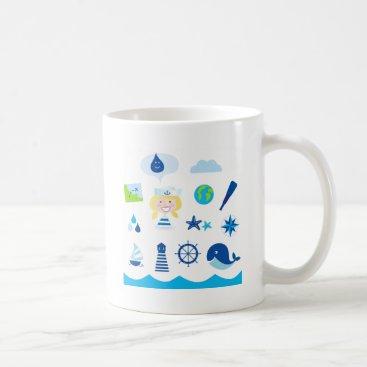 Beach Themed BLUE VINTAGE MARE ICONS : Tshirts Coffee Mug
