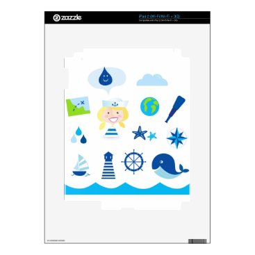 Beach Themed BLUE VINTAGE MARE ICONS : Tshirts Decal For iPad 2