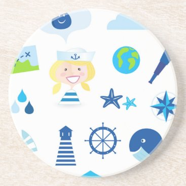 Beach Themed BLUE VINTAGE MARE ICONS : Tshirts Drink Coaster