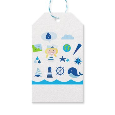Beach Themed BLUE VINTAGE MARE ICONS : Tshirts Gift Tags