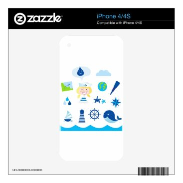 Beach Themed BLUE VINTAGE MARE ICONS : Tshirts iPhone 4 Decals