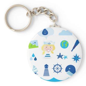 Beach Themed BLUE VINTAGE MARE ICONS : Tshirts Keychain