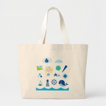 Beach Themed BLUE VINTAGE MARE ICONS : Tshirts Large Tote Bag