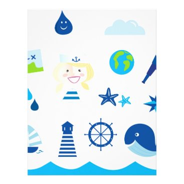 Beach Themed BLUE VINTAGE MARE ICONS : Tshirts Letterhead
