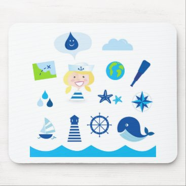 Beach Themed BLUE VINTAGE MARE ICONS : Tshirts Mouse Pad