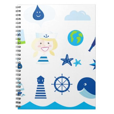 Beach Themed BLUE VINTAGE MARE ICONS : Tshirts Notebook