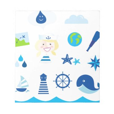 Beach Themed BLUE VINTAGE MARE ICONS : Tshirts Notepad