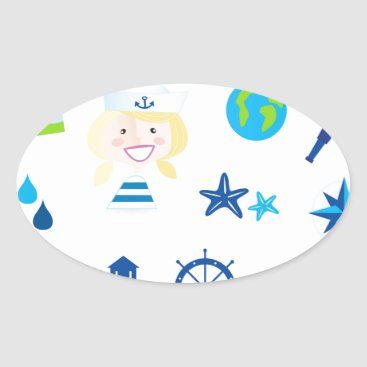 Beach Themed BLUE VINTAGE MARE ICONS : Tshirts Oval Sticker