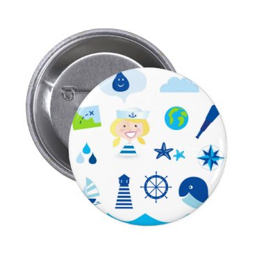 Beach Themed BLUE VINTAGE MARE ICONS : Tshirts Pinback Button