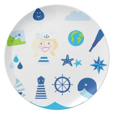 Beach Themed BLUE VINTAGE MARE ICONS : Tshirts Plate
