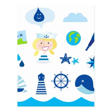 Beach Themed BLUE VINTAGE MARE ICONS : Tshirts Postcard