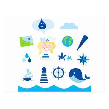 Beach Themed BLUE VINTAGE MARE ICONS : Tshirts Postcard