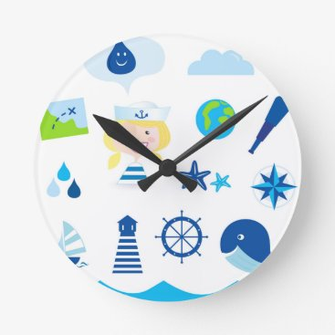 Beach Themed BLUE VINTAGE MARE ICONS : Tshirts Round Clock