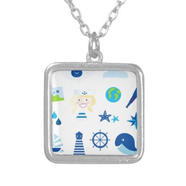 Beach Themed BLUE VINTAGE MARE ICONS : Tshirts Silver Plated Necklace