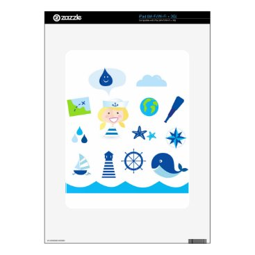 Beach Themed BLUE VINTAGE MARE ICONS : Tshirts Skin For iPad