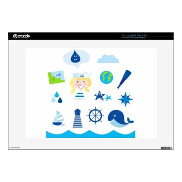 Beach Themed BLUE VINTAGE MARE ICONS : Tshirts Skins For Laptops