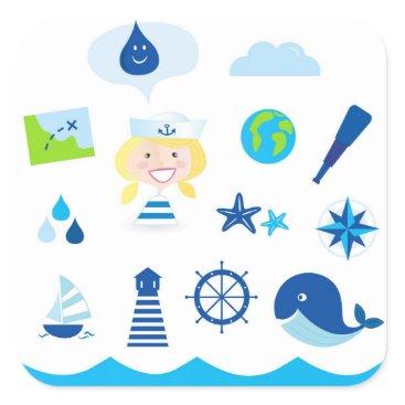 Beach Themed BLUE VINTAGE MARE ICONS : Tshirts Square Sticker