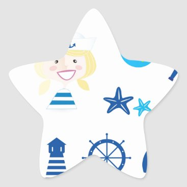 Beach Themed BLUE VINTAGE MARE ICONS : Tshirts Star Sticker