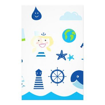 Beach Themed BLUE VINTAGE MARE ICONS : Tshirts Stationery