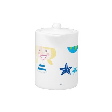 Beach Themed BLUE VINTAGE MARE ICONS : Tshirts Teapot