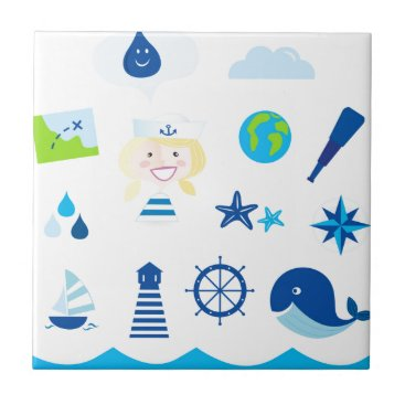 Beach Themed BLUE VINTAGE MARE ICONS : Tshirts Tile