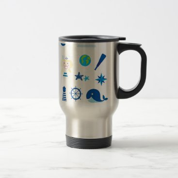 Beach Themed BLUE VINTAGE MARE ICONS : Tshirts Travel Mug