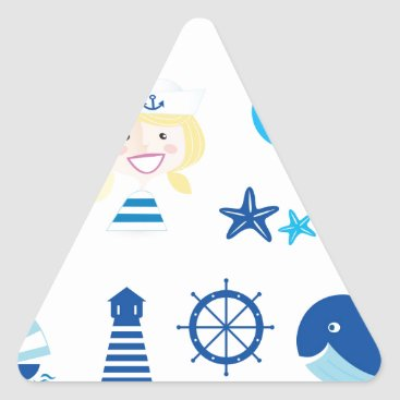 Beach Themed BLUE VINTAGE MARE ICONS : Tshirts Triangle Sticker