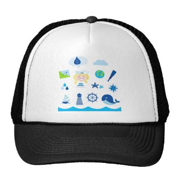 Beach Themed BLUE VINTAGE MARE ICONS : Tshirts Trucker Hat