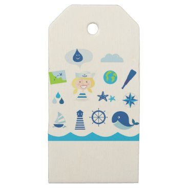 Beach Themed BLUE VINTAGE MARE ICONS : Tshirts Wooden Gift Tags