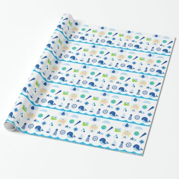 Beach Themed BLUE VINTAGE MARE ICONS : Tshirts Wrapping Paper