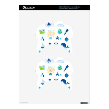 Beach Themed BLUE VINTAGE MARE ICONS : Tshirts Xbox 360 Controller Skin