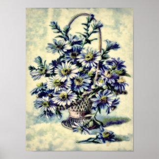 Blue Vintage Margaruite Flowers in a Basket Poster
