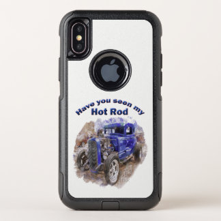 Blue vintage old roadster with the engine out OtterBox commuter iPhone x case