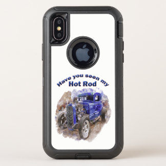 Blue vintage old roadster with the engine out OtterBox defender iPhone x case
