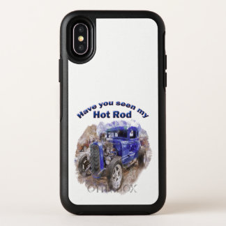 Blue vintage old roadster with the engine out OtterBox symmetry iPhone x case
