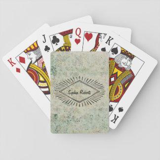 Blue Vintage old Wallpaper Star Triangle Label Nam Poker Deck