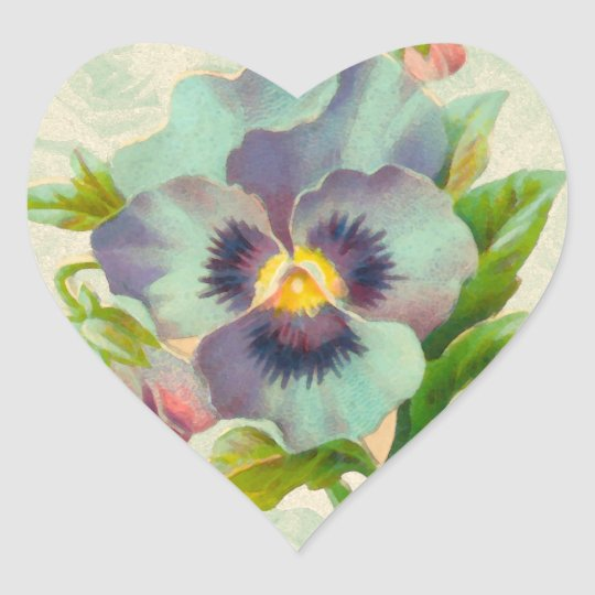 Blue Vintage Pansy Watercolor Heart Sticker